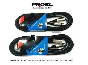 PROEL-BULK250LU10-CAVO-per-MICROFONO-CASSE-CANNON-xlr-M-F-SET-2-CAVI-da-10-MT