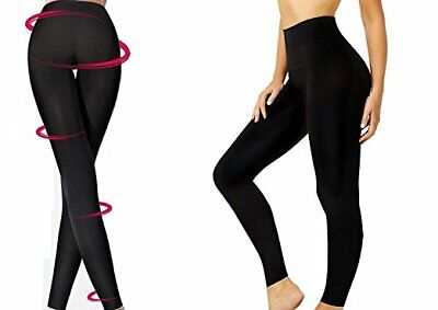 Womens Slimming Leggings Gymwear Seamless Contours Black All Sizes UK FAST FREE