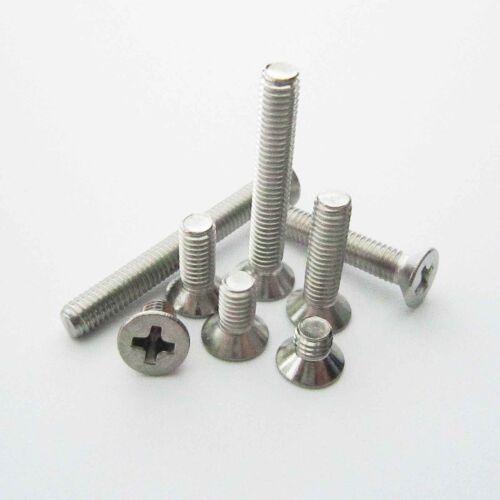 25//100 Stainless Steel Metric M3 Flat Countersunk Phillips Cross Head Screw Bolt