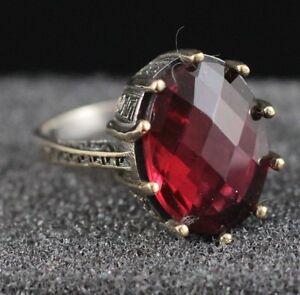 925-Sterling-Silver-Handmade-Gemstone-Turkish-Ruby-Ladies-Ring-Size-7-9