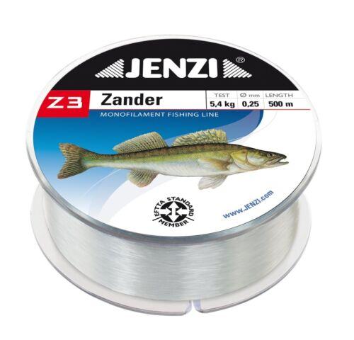 1,30 EUR//100 m Jenzi Z3 Angelschnur Monofil 500m Zander 0,25mm 4,8kg