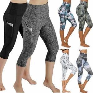 womens high waist compression capri leggings sport yoga