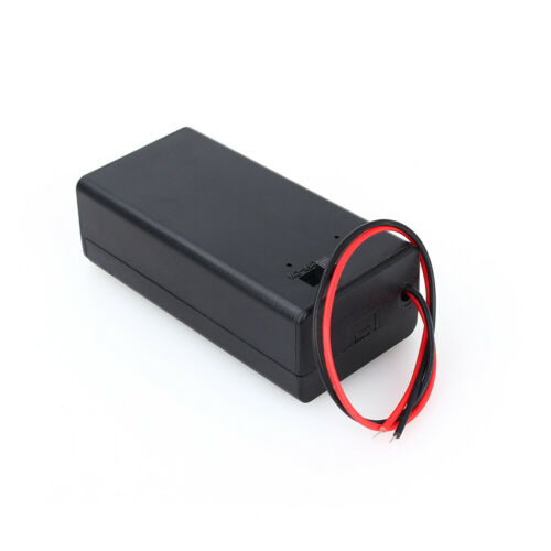 1 un 9V DC Volt PP3 Batería Titular Caja Estuche Con Alambre De Plomo Interruptor ON//OFF Cubierta
