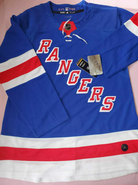 huge discount f6fb2 86097 NY Rangers adidas Authentic Hockey Home Jersey Sz 50 Mens NHL Sewn Fight  Strap