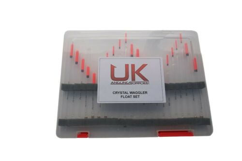 22pc Crystal Waggler Float Set General Coarse Fishing Clear Plastic Float Box