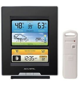 AcuRite-Wireless-Weather-Forecaster-Color-LCD-Humidity-Barometric-Moon-Clock-New