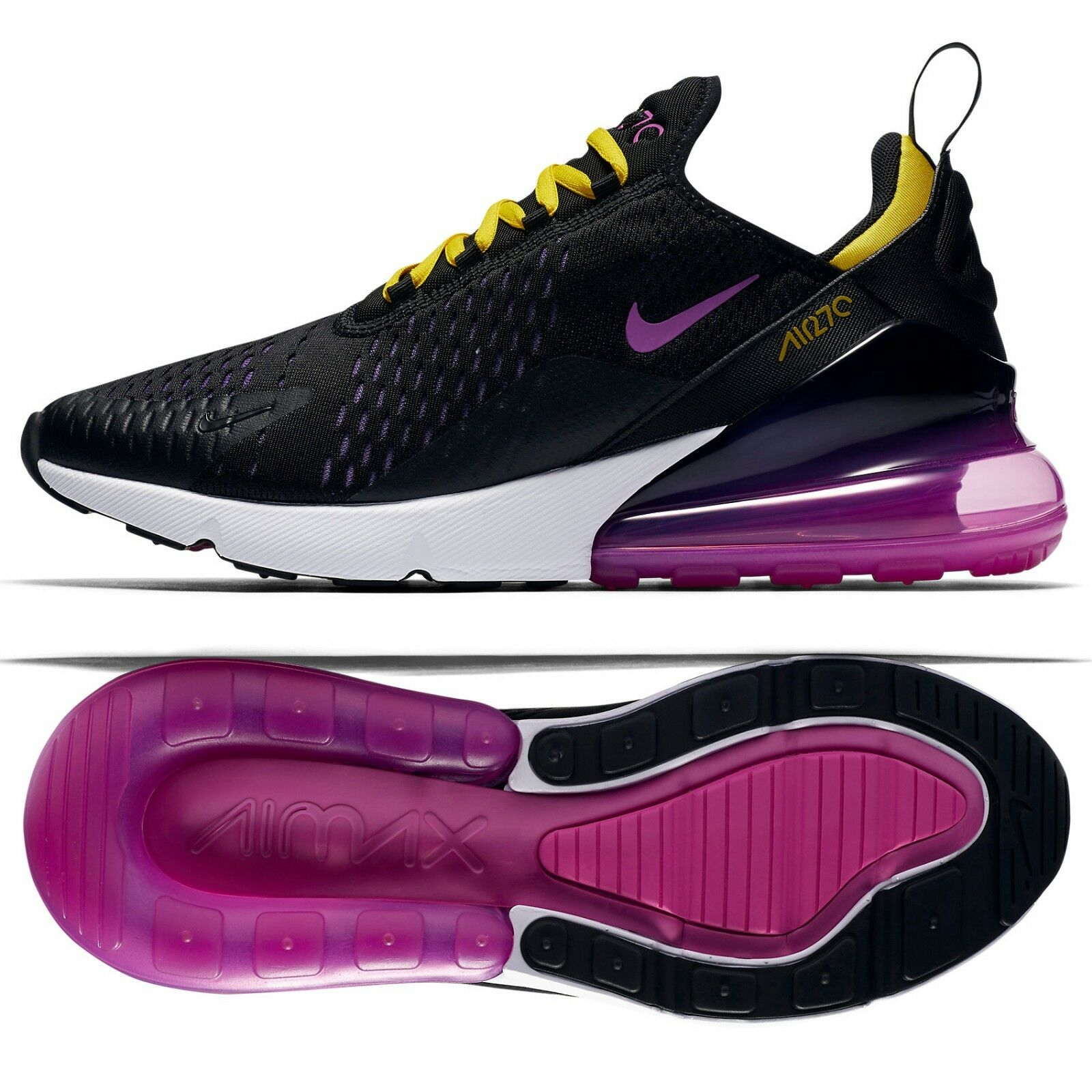 nike air max 270 ah8050-006 noir / hyper - raisin / / raisin jaune / magenta chaussures pour hommes 844980