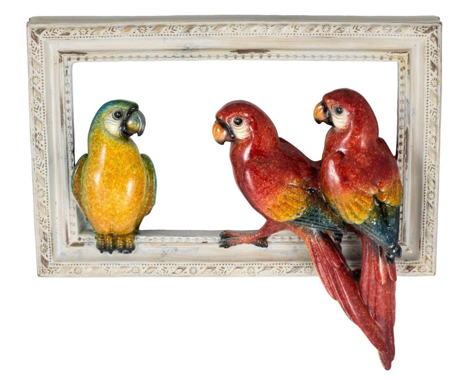 MACAWS PARROT Scarlet Trio Sculpture Direct from JOHN PERRY 7in long Figurine