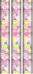 3x-UNICORN-GIFT-WRAP-PAPER-PINK-PRESENT-WRAPPING-CHRISTMAS-BIRTHDAY-PARTY-KIDS