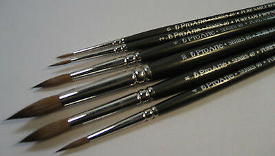 Pro Arte Artists PURE SABLE 6 Brush Set. Watercolour Painting
