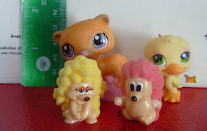 Special-Lot-of-4-PVC-Toys-Littlest-Pet-Shop-Brown-Kitten-Cat-Yellow-Baby-Duck