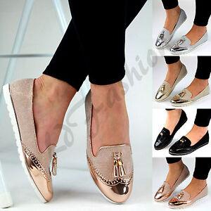 9fcda77a6c40 Image is loading New-Womens-Loafers-Brogue-Ballet-Glitter-Metallic-Tassel-