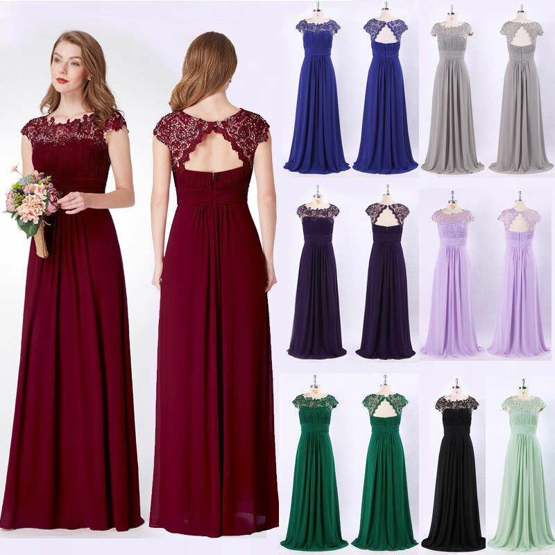 0da6c35b20e UK Ever-Pretty Lace Cap Sleeves Long Bridesmaid Dresses Evening Prom Dress  09993