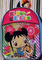 Ni Hao KAI LAN Full Size Canvas Backpack NEW Book Bag Tote I Love My Friends NWT
