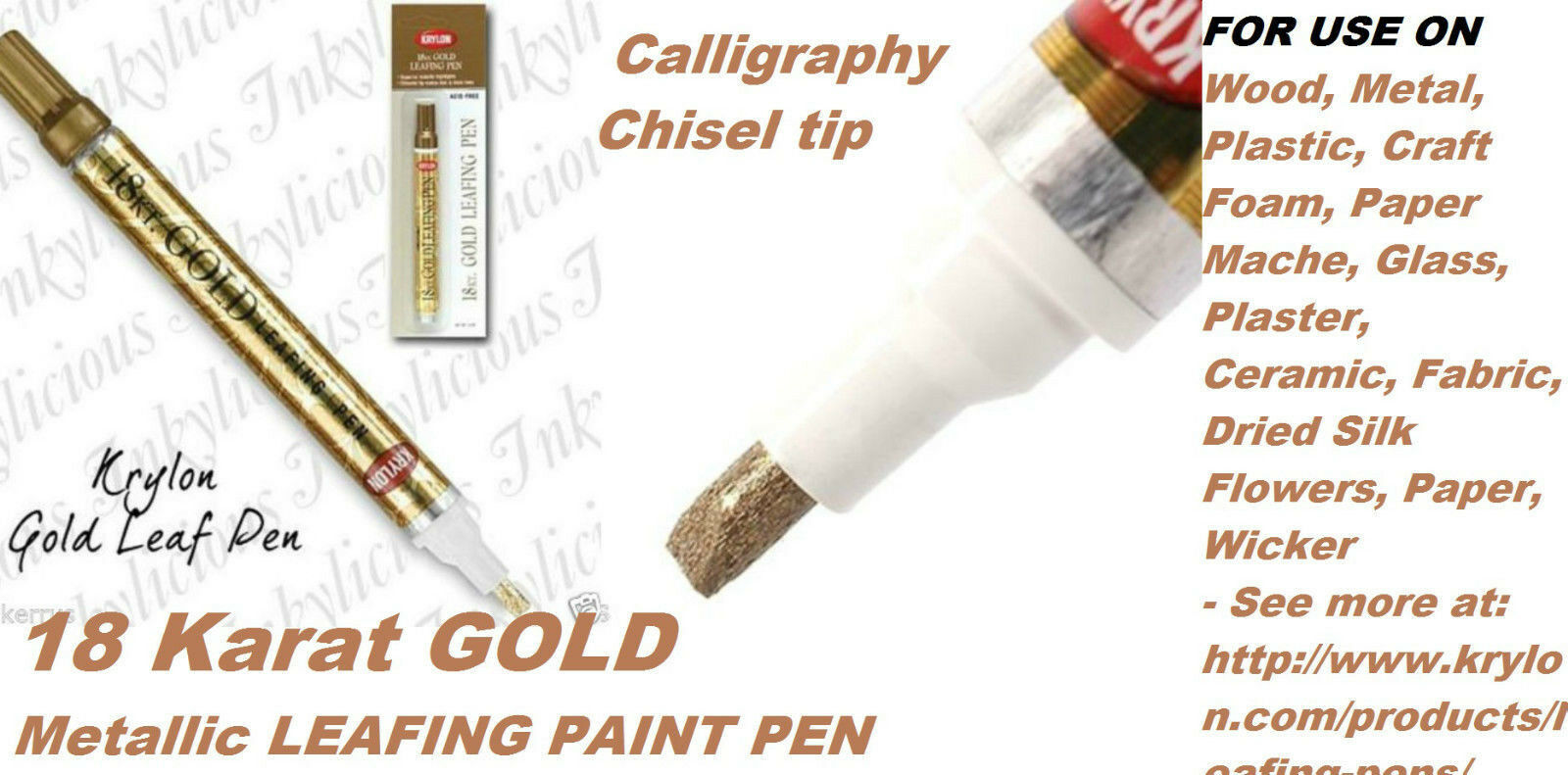 18 Karat Gold Leafing Pen 18kt Metallic Oil Based Leaf Paint Marker Krylon  9901