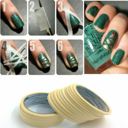 2Stk Weiß Nail Art Tape Nagel Band Streifen Edge Guide Tips Stickers 0,5cmx17m