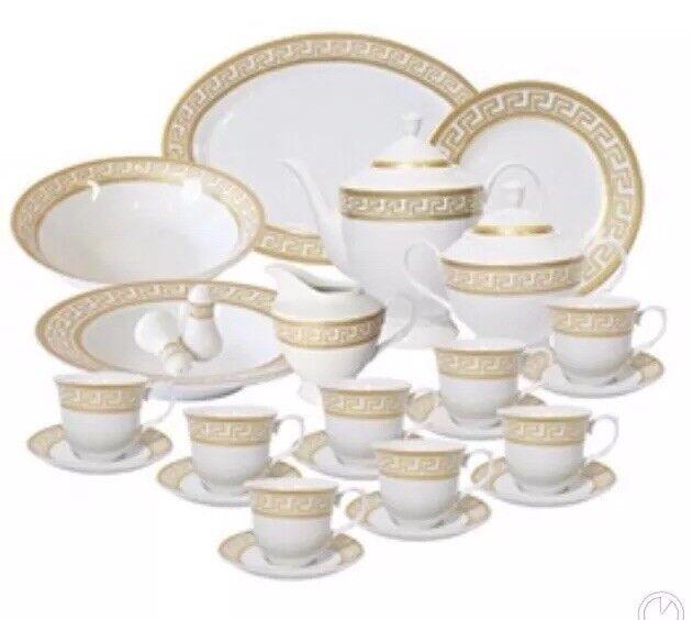 Elegant Gold Greek Key Design 49 Pcs Dinner Set , Service For 8 Persons