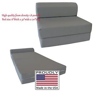 Details About Twin 6x36x70 Flip Chair Folding Foam Beds Foldable Sofa Bed Gray