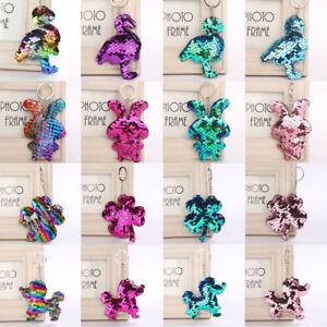 Pendant-Holder-Car-Bag-Accessories-Flamingo-Key-Ring-Glitter-Sequins-Keychain