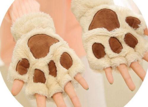 Winter Women Cat Claw Paw Plush Mitten Short Fingerless Gloves Half Finger2