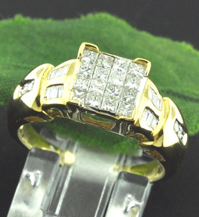 1.00 ct 18k Solid Yellow gold Ladies Natural Diamond Ring Princess Cut Baguette