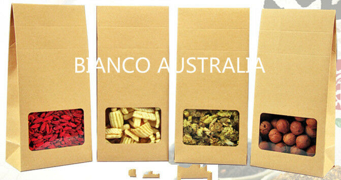 500 X KRAFT PAPER FOOD BOX, CLEAR WINDOW, 3 HEIGHT SETS, CANDY GIFT PARTY BOX