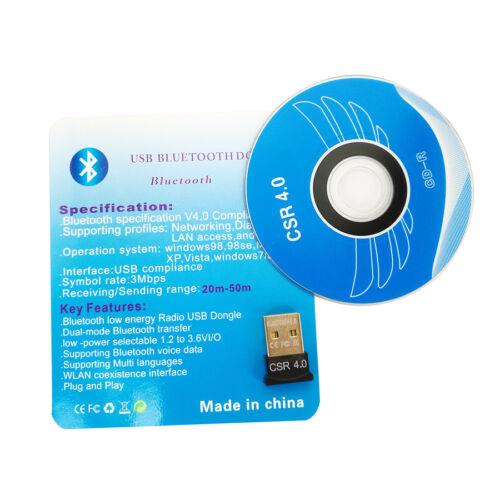USB Bluetooth CSR4.0 3.0 Wireless Mini Adapter Dongle for PC Laptop WIN 7 8 10