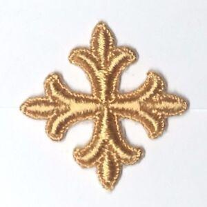 Vintage-Frances-Cruz-Fleury-Bordado-1-034-para-Coser-Oro-R-Emblema-Parche-12-Piezas