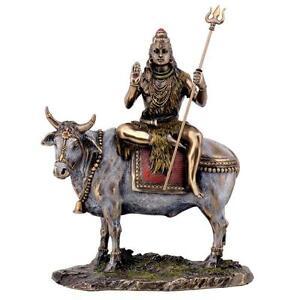 Shiva-sur-Nandi-le-Taureau-Statue-9-034-Dieu-Hindou-Bronze-Resine-Haut-Qualite