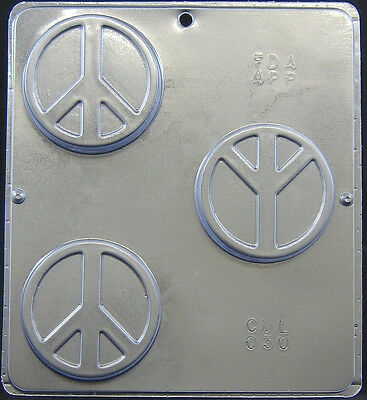"Peace Symbol 3"" Mold for Soap or Chocolate Candy Mold  030 NEW"