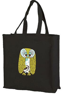 Logisch Owl Cotton Shopping Bag Choice Of Colours Modischer Grandad Owl In Stil;
