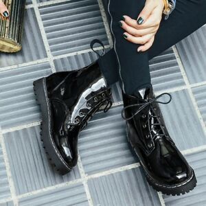 bb9ac0e0b84 Details about Girls Casual Patent Leather Lace Up Ankle Boots Military  Combat Black Shoes New