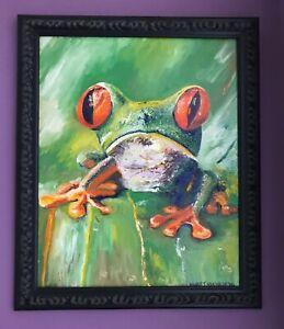 Frog-19-034-x23-034-Original-Oil-Painting-Framed-Signed-Art-by-Artist-Wood-Frame-AOC
