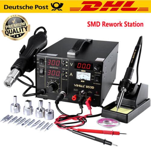 3in1 Lötkolben SMD Lötstation Heißluft Löten Entlöten Rework 800W mit 4 Düsen EU