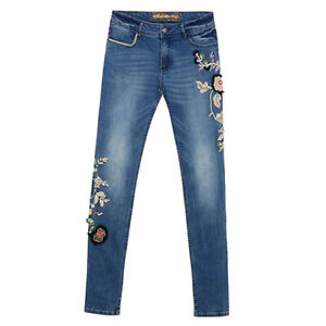 Desigual Denim Trousers with Flowers For Women PN: 19SWDD43