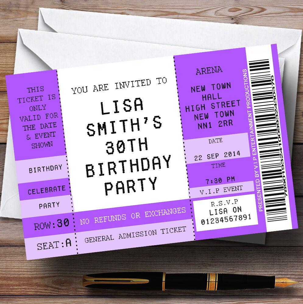 Funny violet thème concert spécial billet thème violet personnalisé anniversaire invitations 1d1d02