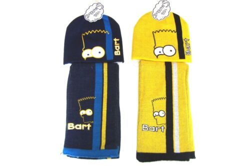 SIMPSONS BOYS BART SIMPSON HAT AND SCARF SET NAVY YELLOW 2-4 4-8 YEARS