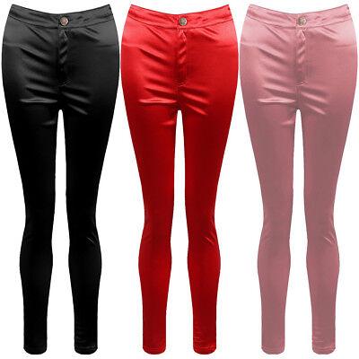 Glänzend American Disco Hose Hosen Tasche Stretch-Leggings Skinny Satin Jeans