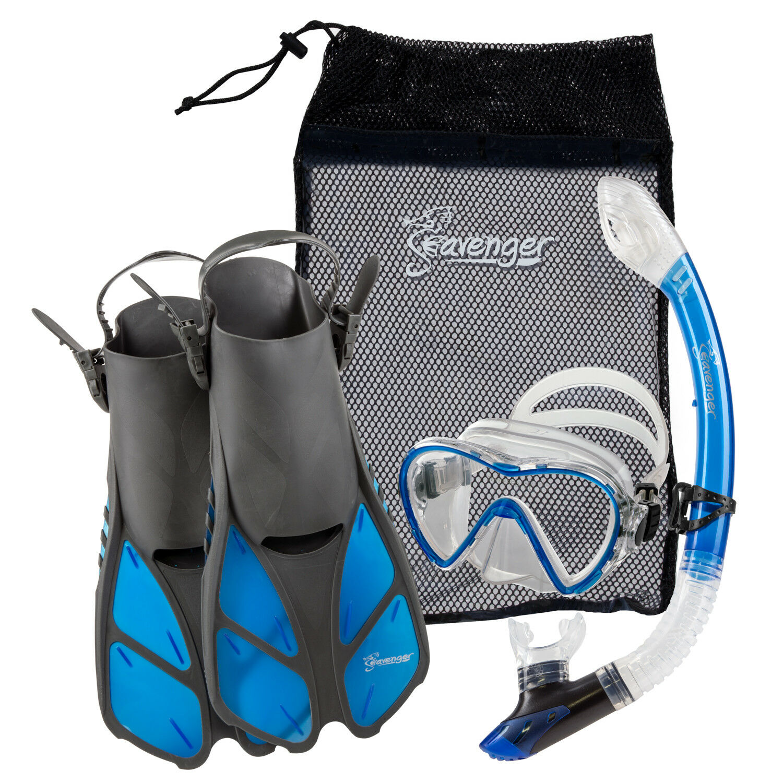 Fins Mask Snorkel Dry Kids Adults Seavenger Bag Top bluee