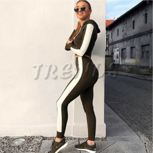 UK Womens 2 PCS Hoodies Crop Top Tracksuits Set Ladies Joggers Active Loungewear