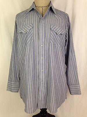 Panhandle Slim Western Shirt Mens 17 34 Blue Pearl Snap Cowboy Rodeo Texas USA