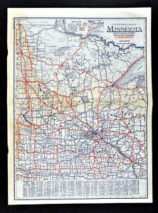 Details about 1930 Clason Road Map Minnesota Minneapolis St Paul Cloud  Duluth Grand Rapids Ely