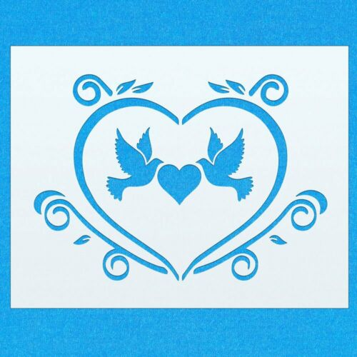 Vintage Dove Love Heart Cute Mylar Airbrush Painting Wall Art Crafts Stencil 1
