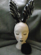 Zebra Print Rabbit Hare Ears & Tail Black & White Stripe Fancy Dress Hen Night