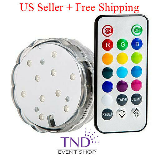 MULTIFarbe (10) LED SUBMERSIBLE PARTY LIGHT BASE WITH REMOTE CONTROL -BULK PRICE