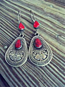 Antique-Woman-925-Silver-Red-Amber-Stone-Pear-Cut-Dangle-Drop-Earrings-Hook