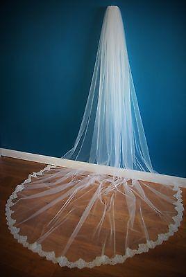 Diligente Bridal Veil * 1 Tier * 3m Wide * Cattedrale Lunghezza * Off Bianco / Avorio * Wide Con Filo In Pizzo *-de Corded Lace * It-it Mostra Il Titolo Originale