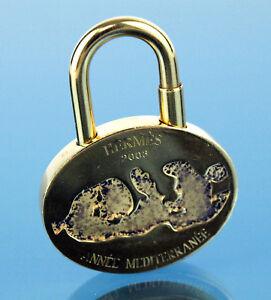 Auth Hermes ANNEE MEDITERRANEE 2003 Gold Tone Cadena Pendentif Sac charme Lock
