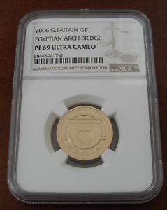 Great Britain 2006 Gold 1 Pound NGC PF69UC Egyptian Arch Bridge