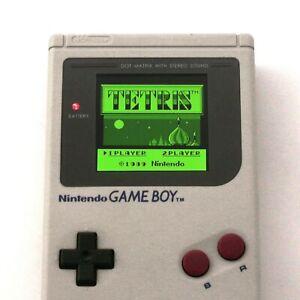 GameBoy-Classic-Konsole-grau-Custom-Display-mit-Farb-LCD-gebraucht-NEUWERTIG